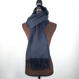 ZARA Large Fringed Scarf in Blue